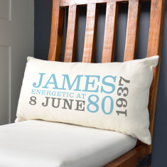 Personalised 80th Birthday Rectangular Cushion