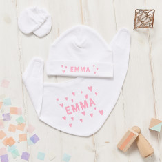 Personalised Scandi Heart Hat, Bib And Mitt Gift Set