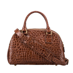 Liliana Croco Luxury Italian Leather Ladies Bowling Bag
