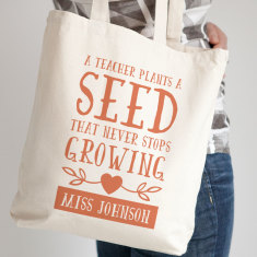Personalised Teacher Growing Tote Bag