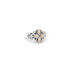 Zahara Sterling Silver and 18K Gold Filigree Oval Ring