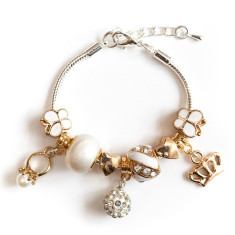 Gold princess charm bracelet
