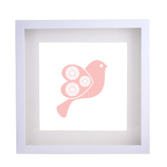 Scandi bird pink framed print