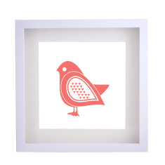 Scandi bird red framed print