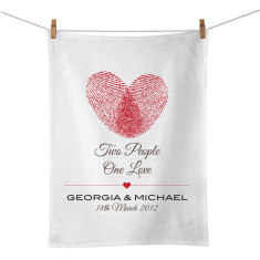 Two people one love personalised tea towel