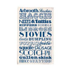 Scottish dinner tea towel - Navy