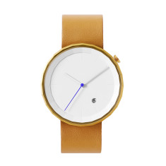 Polygon watch with gold case and brown leather strap