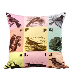 Scrable birds cushion