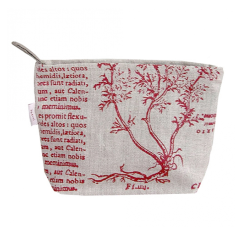 Cosmetics bag in Latin herbal red