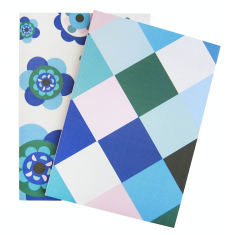 Flower & diamonds wallpaper notebooks (set of two)