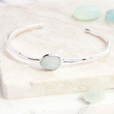 Pebble Open Cuff With Aqua Chalcedony
