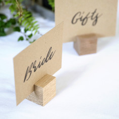 Ten wood place card holders/menu stands - two sizes available
