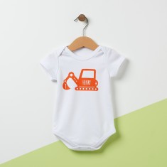 Personalised Digger Baby Bodysuit