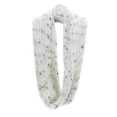 White and gold dust Knitted loop scarf