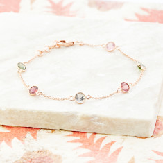 Sweetie station bracelet in rose gold plate