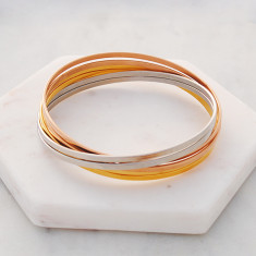 Six in the mix triple tone linked bangles in rose gold, gold and silver