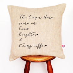 Love, laughter and strong coffee personalised cushion cover