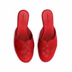 Elskling Premium Mule Slipper in Very Red Leather