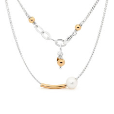 Sterling silver and gold fill bar pearl necklace