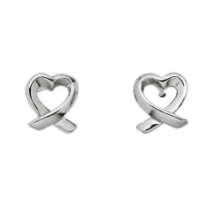 Dainty sterling silver heart twist stud earrings