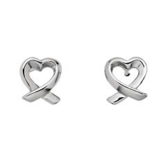 Dainty sterling silver heart twist stud earrings