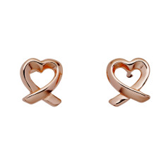 Dainty rose gold heart twist stud earrings