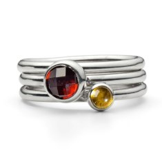 Woodwick gemstone stacking rings