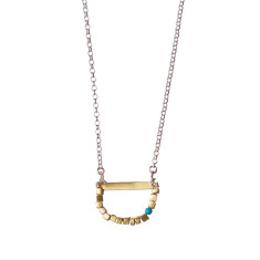 Semi-circle necklace with single turquoise stone
