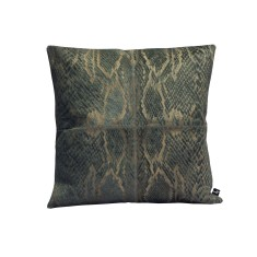 Serpiente cowhide cushion in charcoal grey