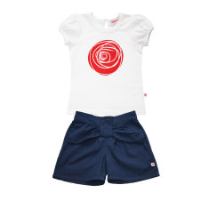 Girls' bow shorts and rose t-shirt