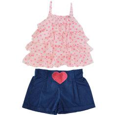 Girls' heart shorts and rara top set