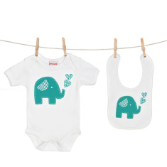 Trumpety trunk onesie & bib boxed gift set