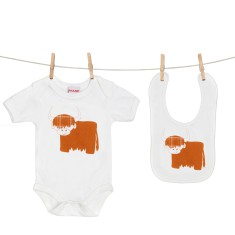 Scottish highland cow onesie & bib gift set