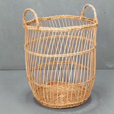 Fine rattan stripe weave basket
