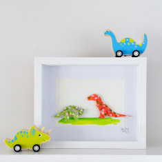 Dinosaur Friends Framed Origami Artwork