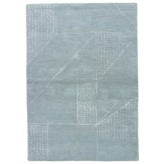 Blue Haze/Pastel Blue hand tufted wool & art silk rug