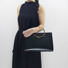 Green Leather top-handle shoulder bag handbag