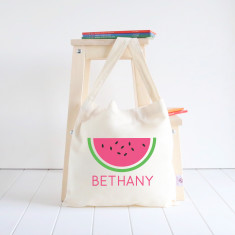 Watermelon personalised library bag
