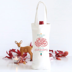 Swirly Merry Christmas personalised wine bag