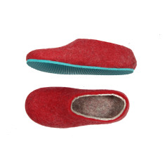 Women's Wool House Shoes Red and Turquoise