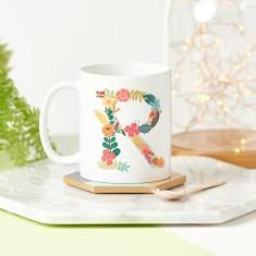Floral Initial Birthday Mug