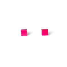 Mini Acrylic square studs - Hot pink