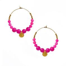 Pink jade and solid brass hoop earrings