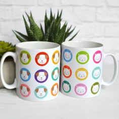 Fido Dogs or Frida Cats Multicolour Circles Mug