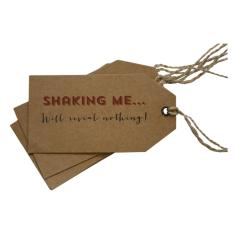 Shaking me will reveal nothing Christmas gift tags (set of 6)