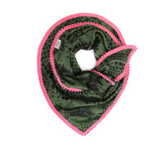 Soft woven scarf in green and black owl design with pink mini pom