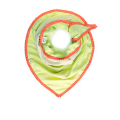 Soft woven scarf in lime and ecru with an orange mini pom trim