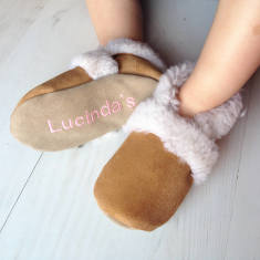 Personalised sheepskin slippers for baby and child