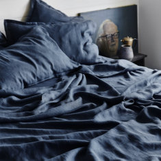 Pure linen bed sheet set in deep sea