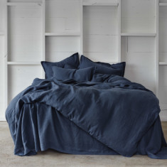 Pure linen quilt cover set in deep sea